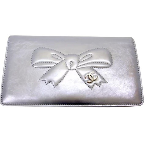 CHANEL シャネル リボンライン 二つ折長財布