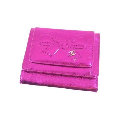 CHANEL シャネル リボンライン 三つ折りコンパクト財布 ミニウォレット